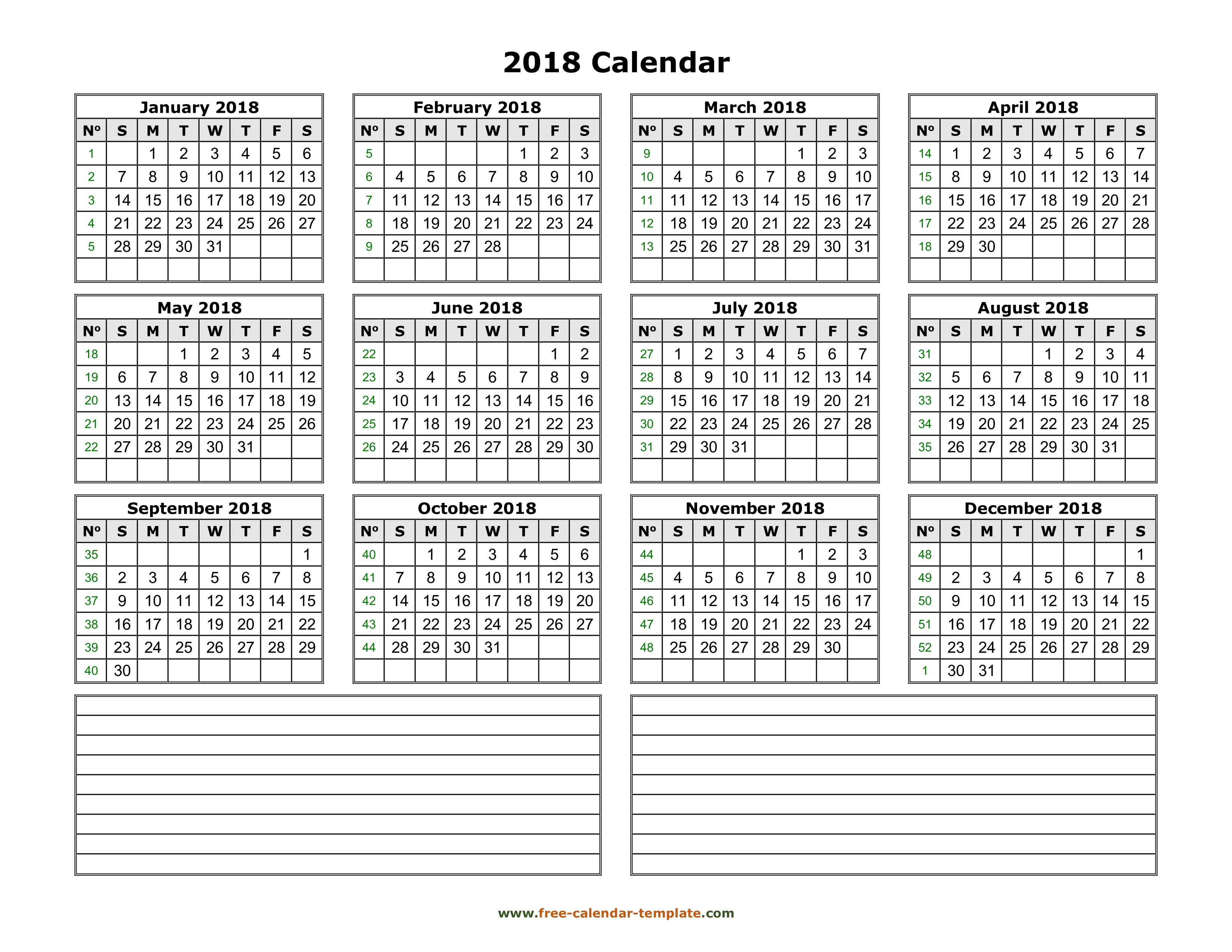 Yearly 2018 calendar printable with space for notes | Free-calendar ...