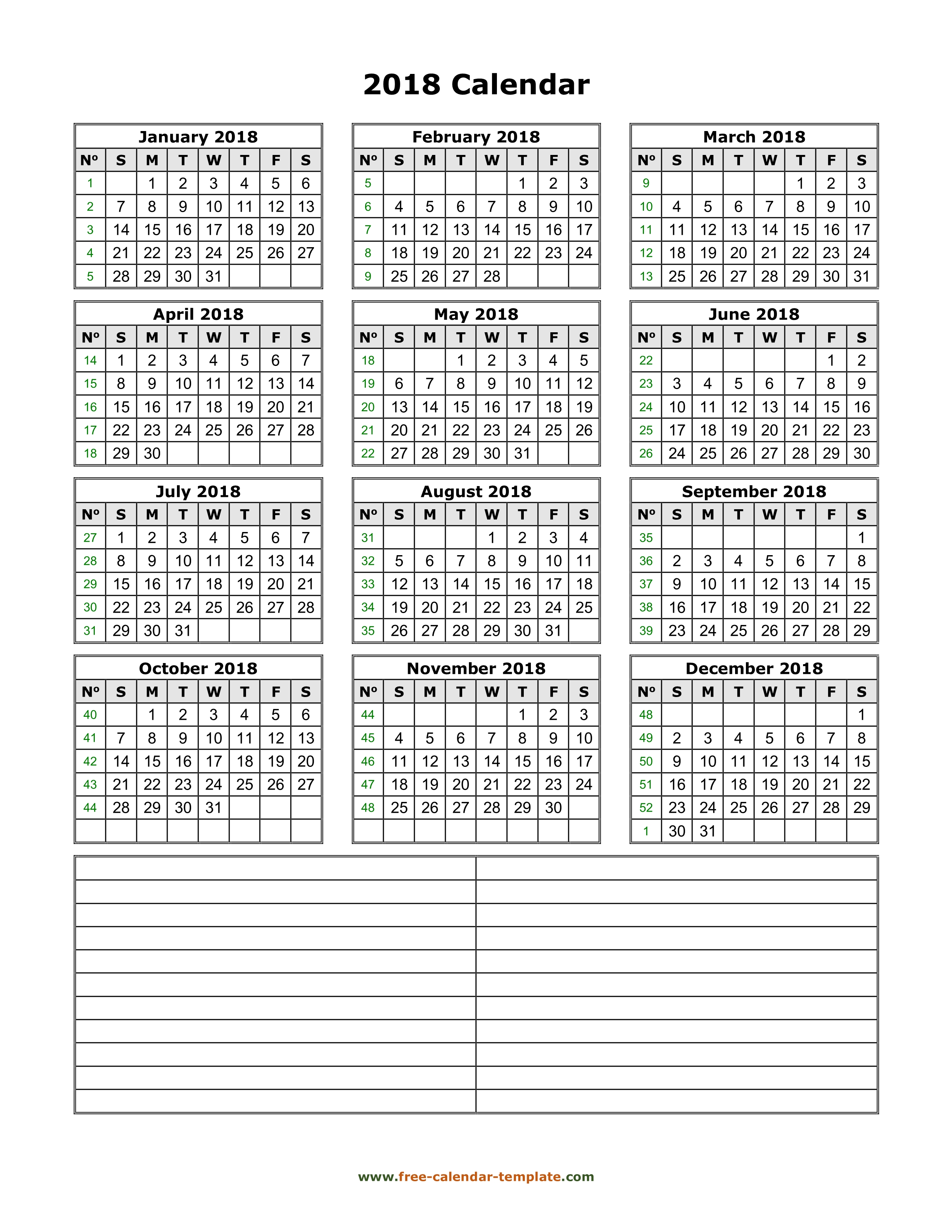 Yearly 2018 printable calendar with space for notes   Free-calendar ...