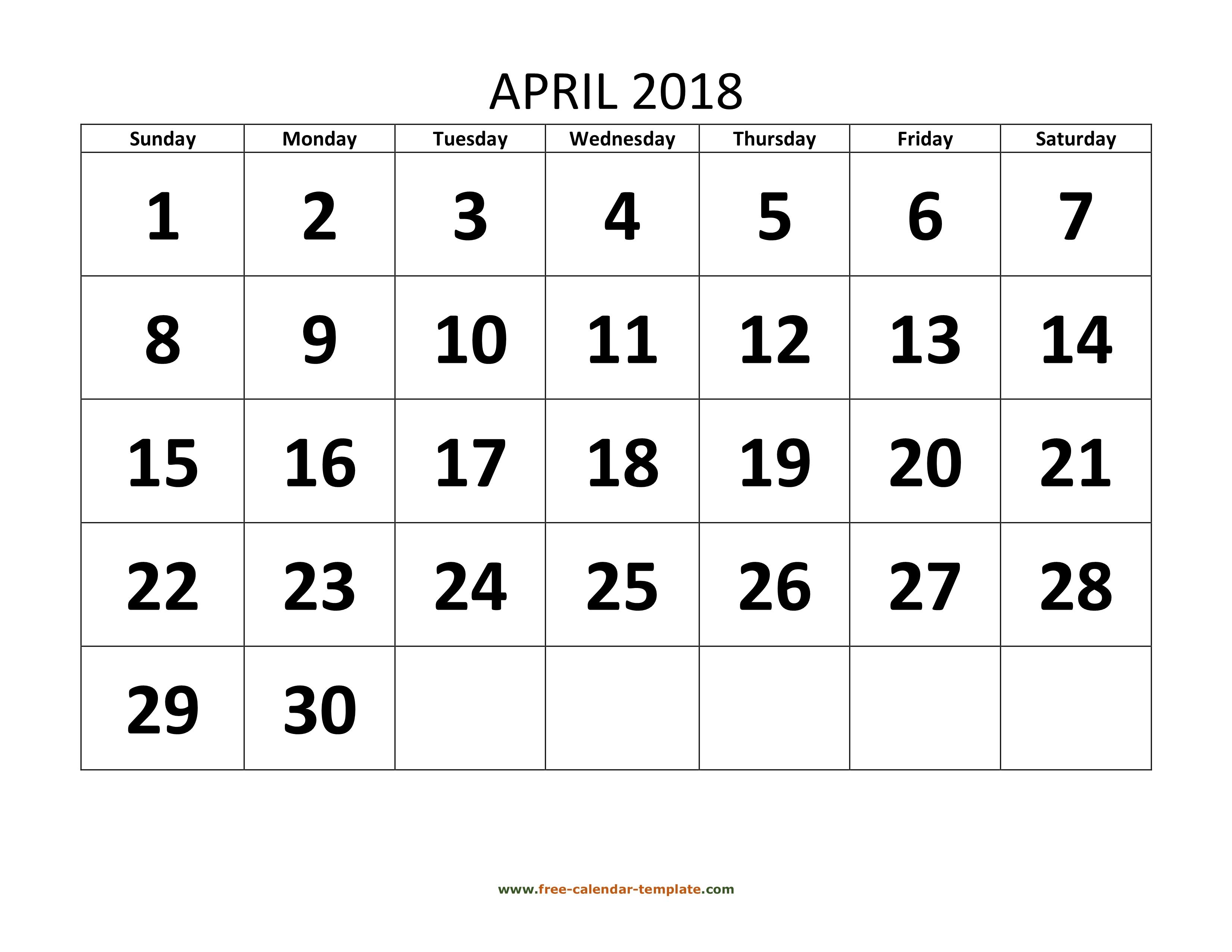 April 2018 Free Calendar Tempplate Free Calendar Template