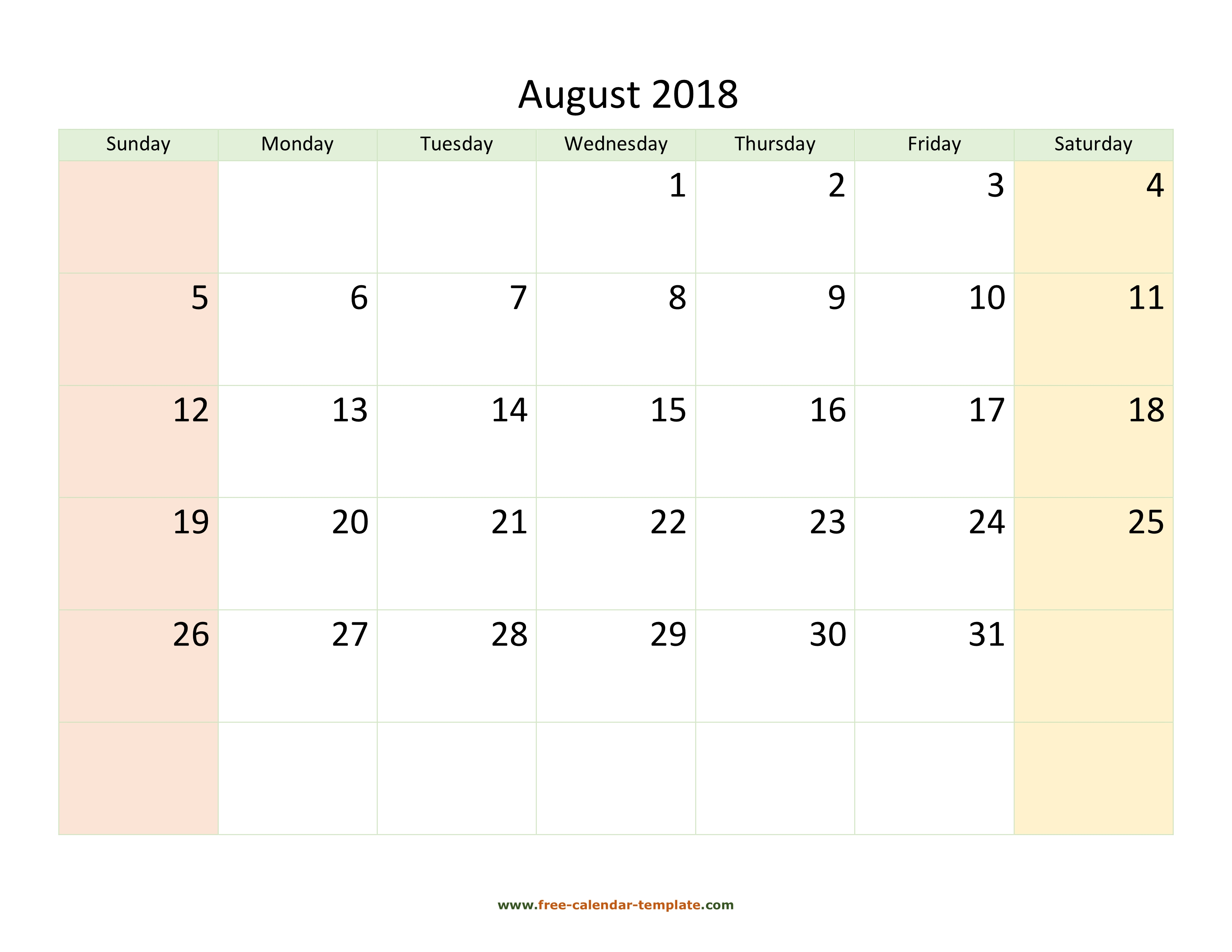 photograph relating to August Calendar Printable known as August 2018 Calendar Printable with coloring upon weekend