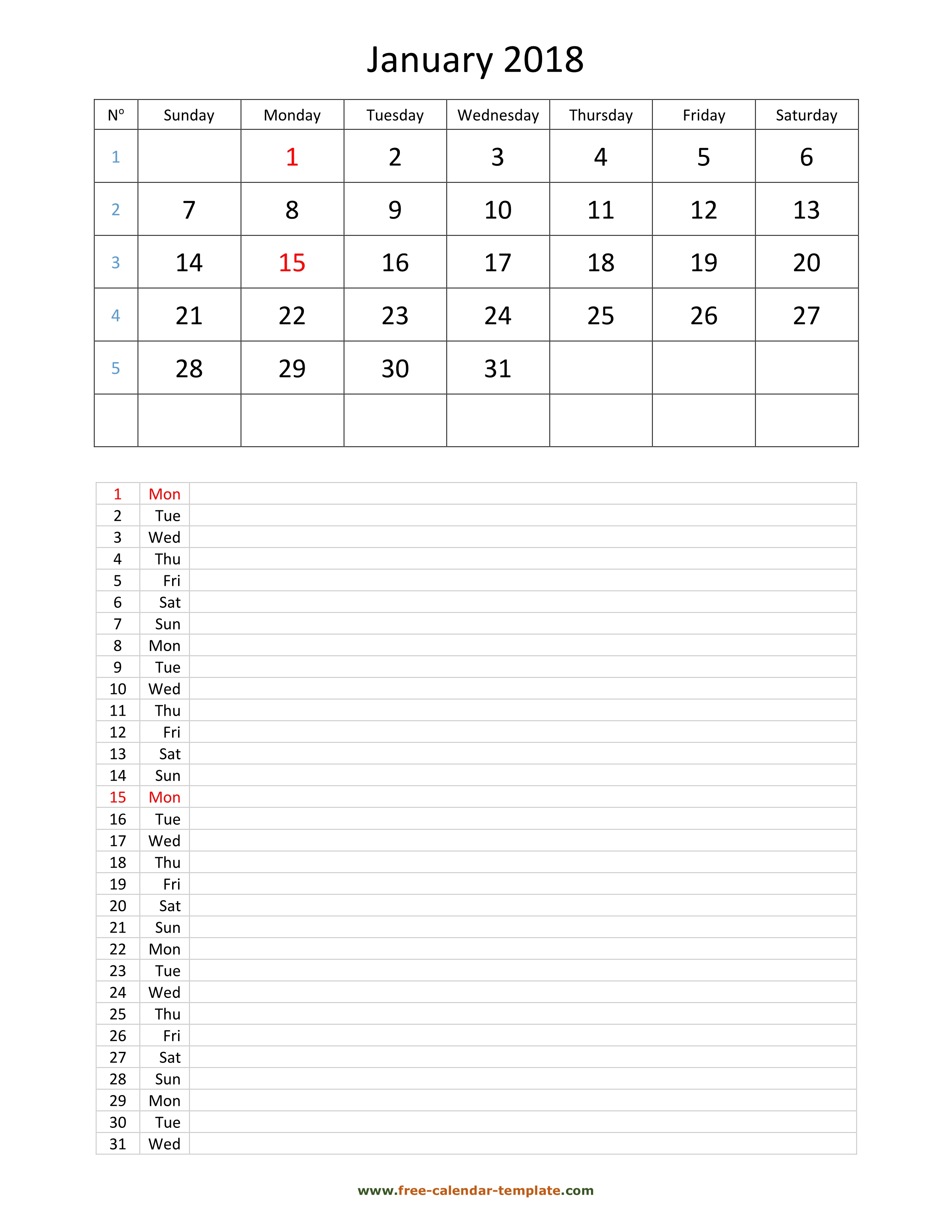 Printable 2018 January Calendar grid lines for daily notes vertical