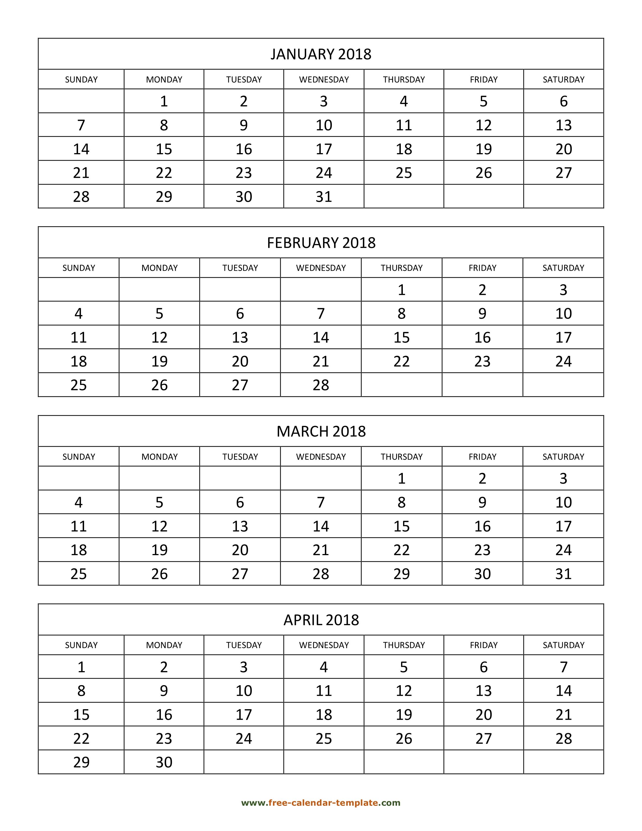 Monthly 2018 Calendar 4 Months Per Page Vertical Free Calendar