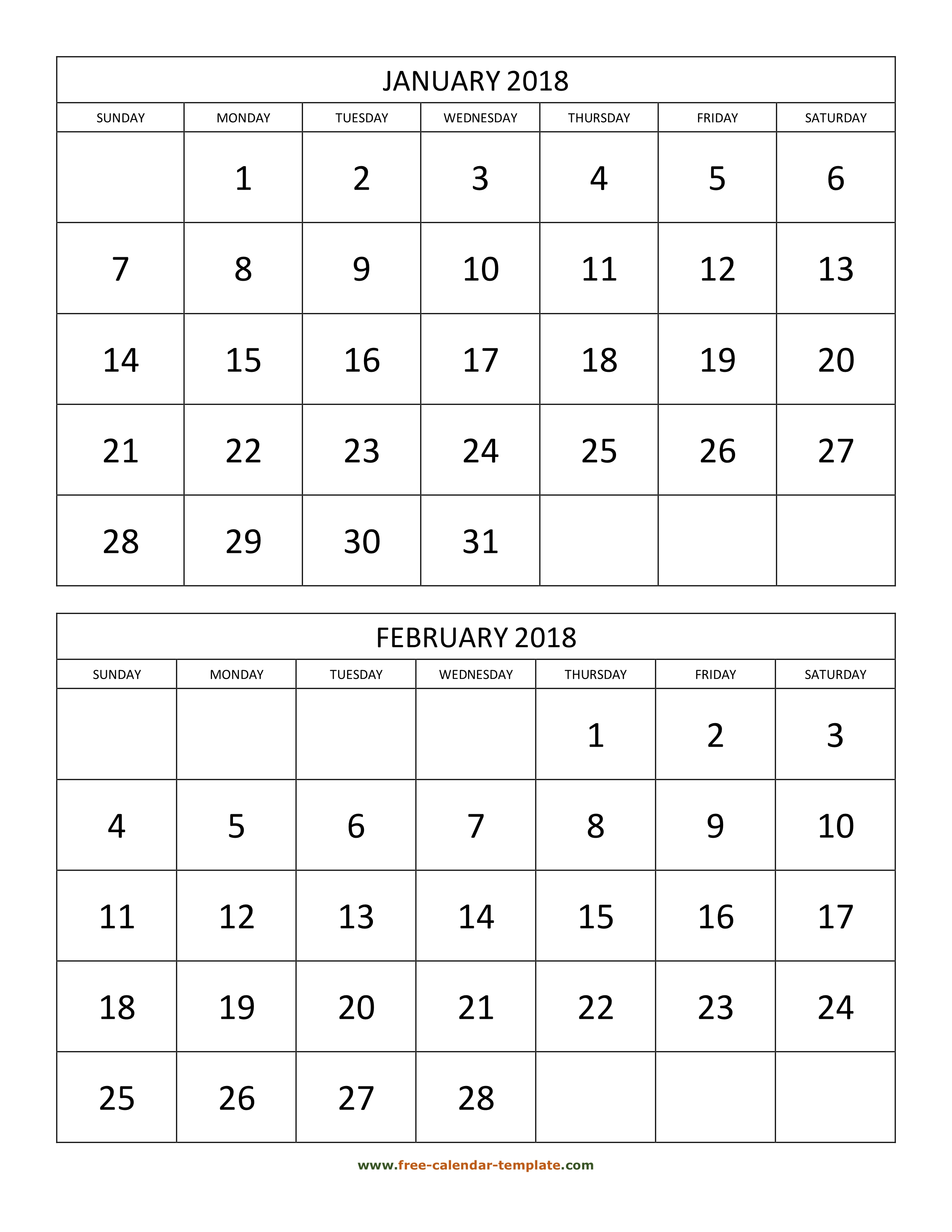 photograph about Two Page Monthly Calendar Template titled Month to month Calendar 2018, 2 weeks for each web site (vertical) Cost-free
