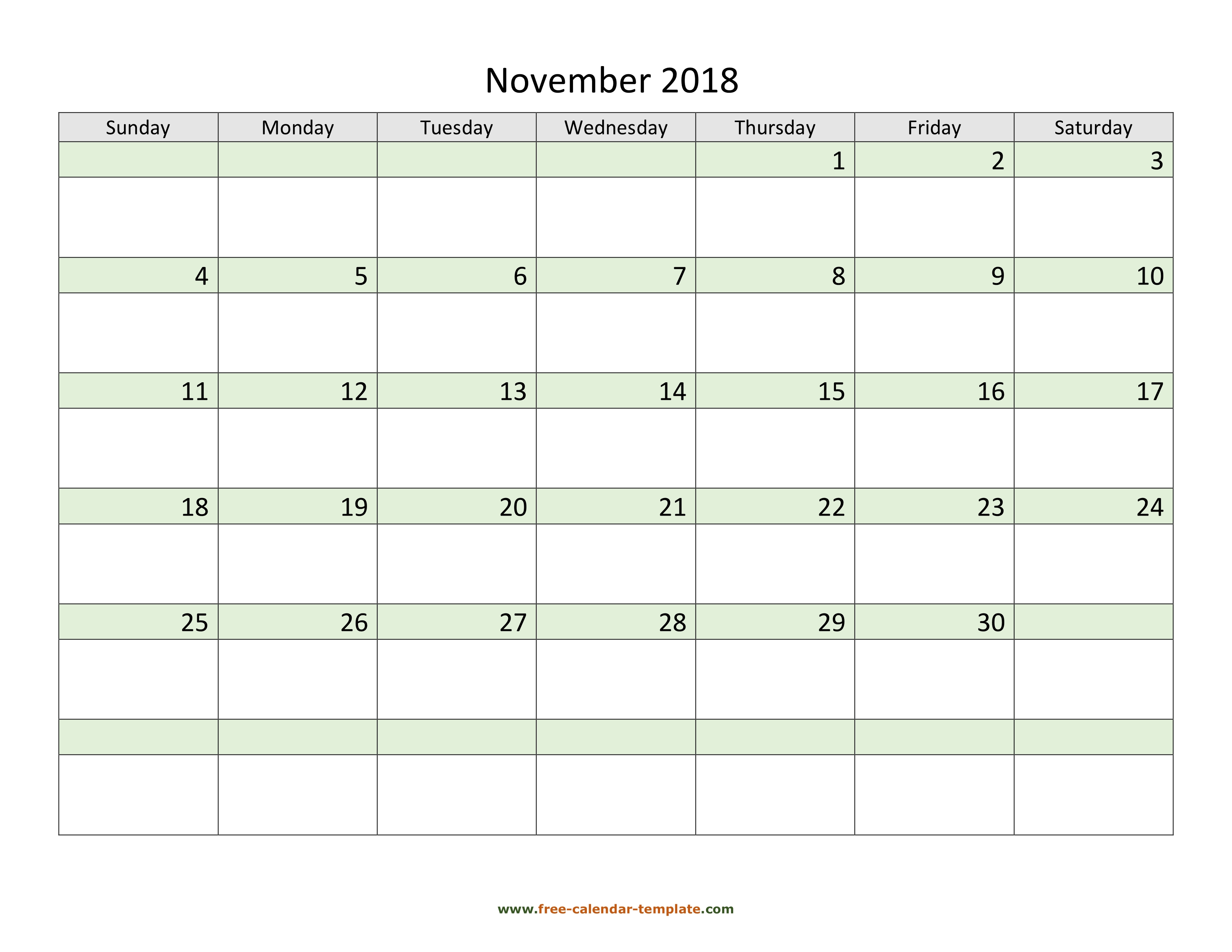 download free november 2018 calendar coloring on each day