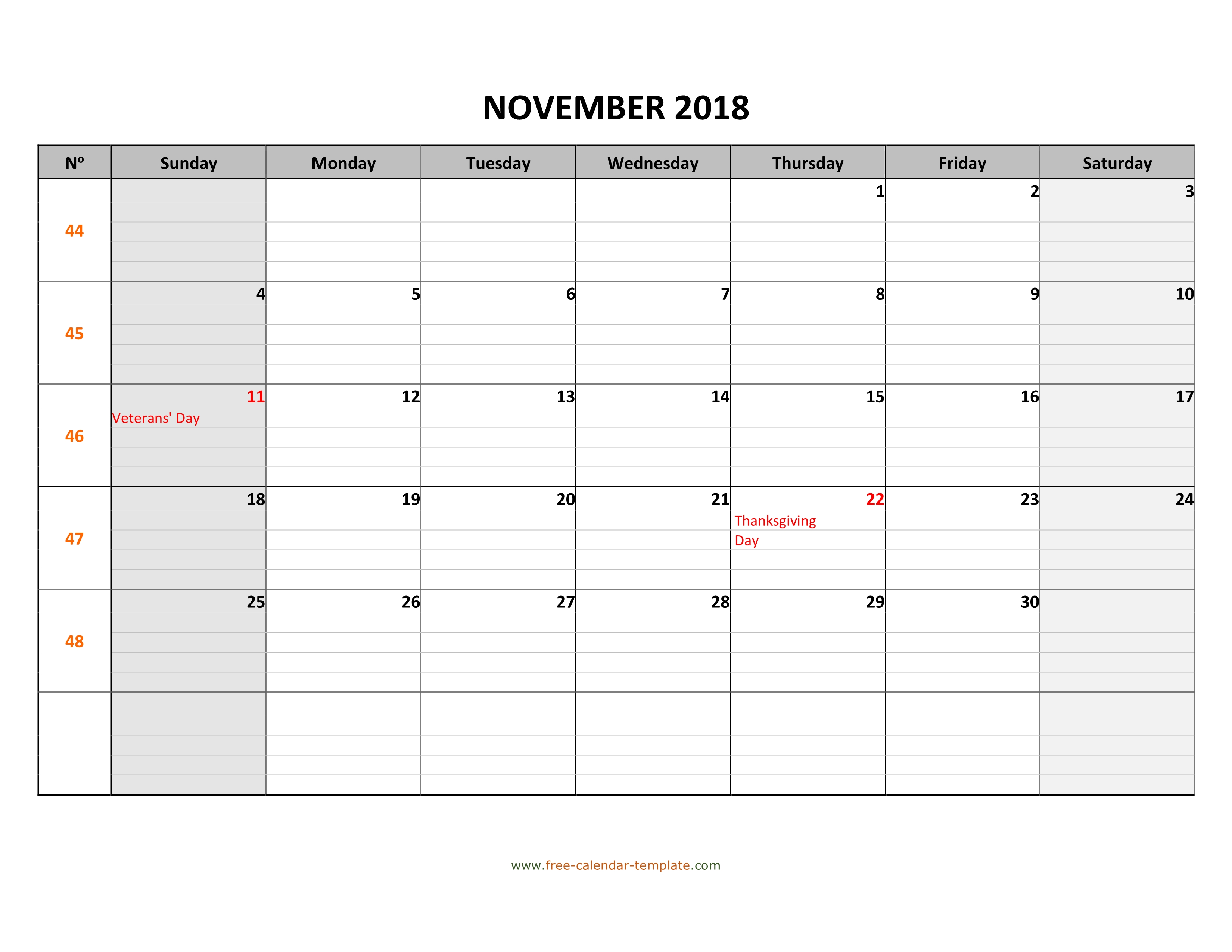 image about Printable November Calendar identified as November 2018 Calendar Free of charge Printable with grid strains
