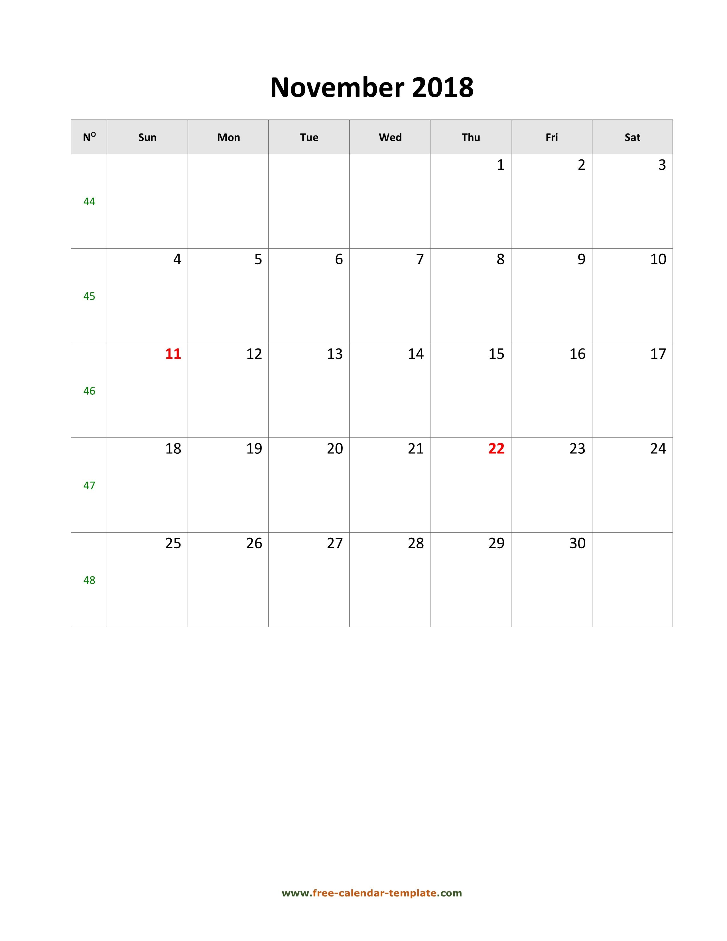 november 2018 calendar simple vertical view large image print