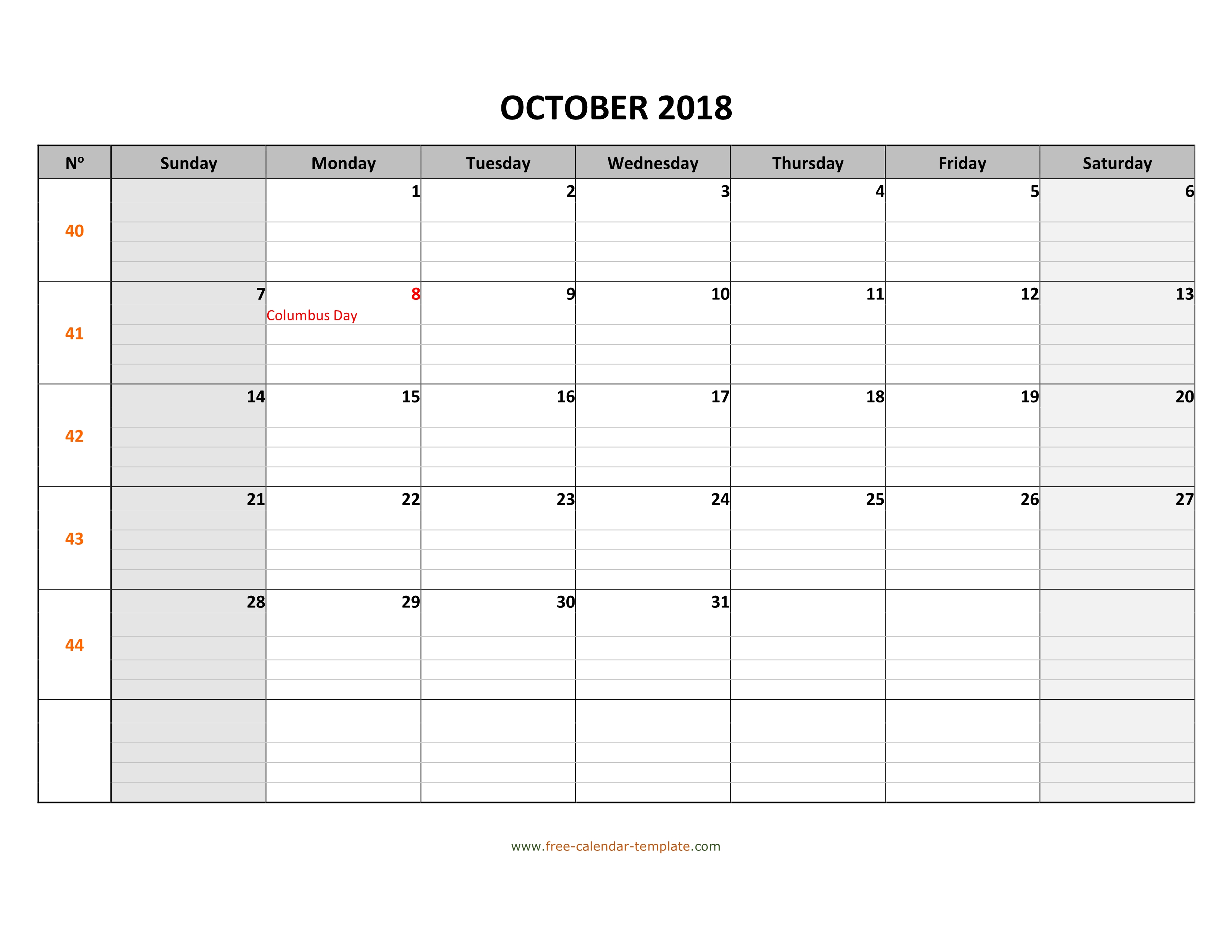October 2018 Calendar Free Printable With Grid Lines