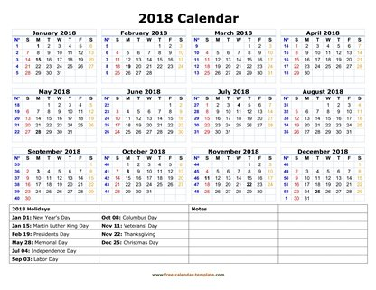 photo regarding Free Printable Calendar With Us Holidays named Printable Annually Calendar 2018