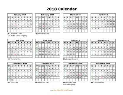2018 calendar holidays month horizontal