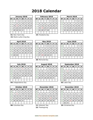 2018 calendar holidays month vertical