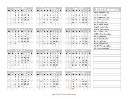 2018 calendar holidays right horizontal