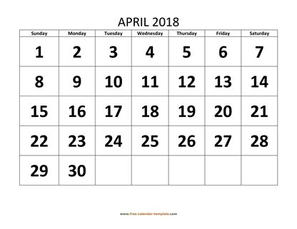 april 2018 calendar bigfont horizontal