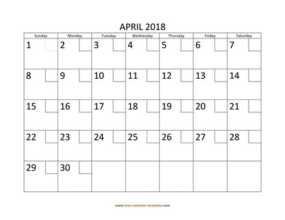 april 2018 calendar checkboxes horizontal