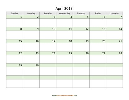 april 2018 calendar daycolored horizontal