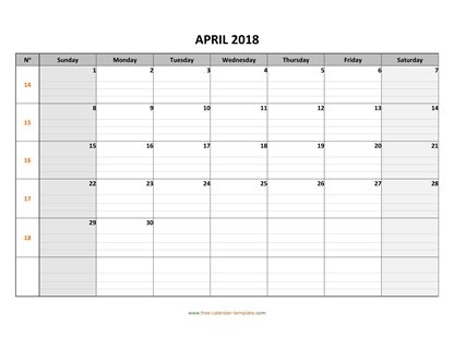 april 2018 calendar daygrid horizontal