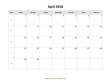 april 2018 calendar holidays horizontal