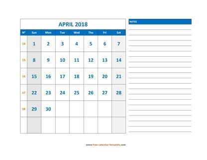 april 2018 calendar largenotes horizontal