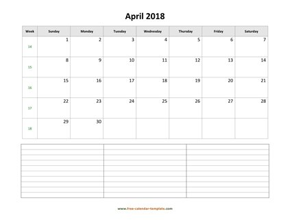 april 2018 calendar notes horizontal