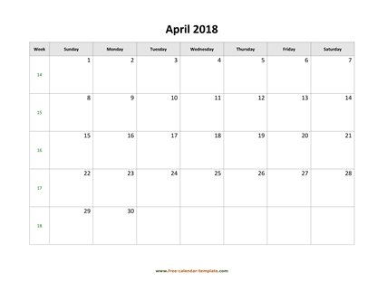 april 2018 calendar simple horizontal