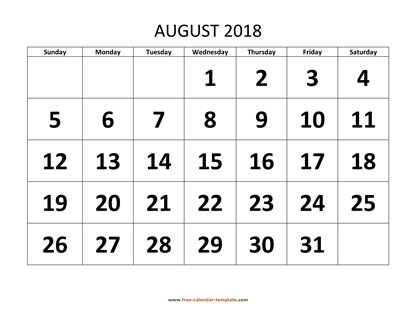 august 2018 calendar bigfont horizontal