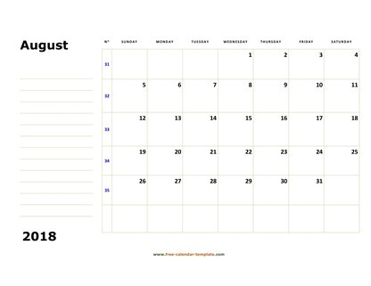 august 2018 calendar boxnotes horizontal