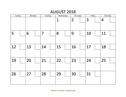 august 2018 calendar checkboxes horizontal