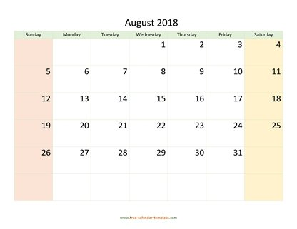 august 2018 calendar colored horizontal