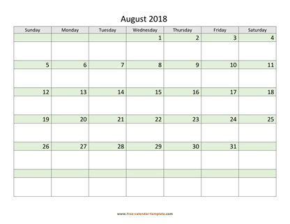 august 2018 calendar daycolored horizontal