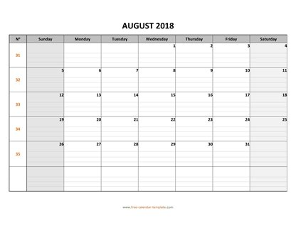august 2018 calendar daygrid horizontal