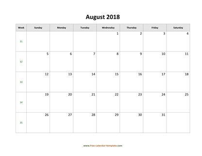 august 2018 calendar holidays horizontal