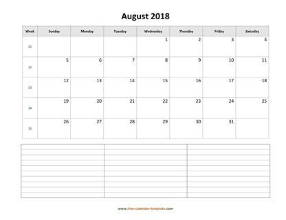 august 2018 calendar notes horizontal
