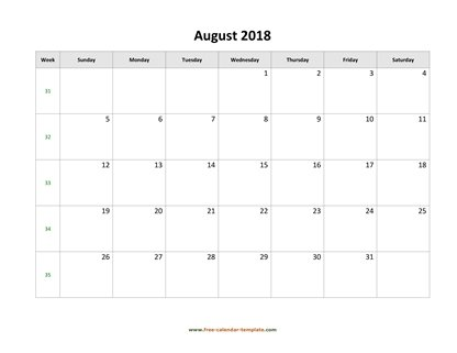 august 2018 calendar simple horizontal