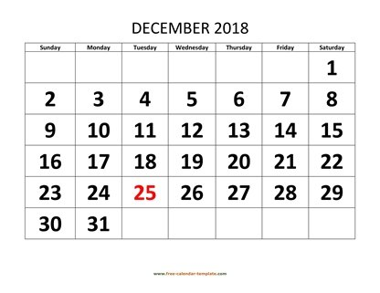 december 2018 calendar bigfont horizontal