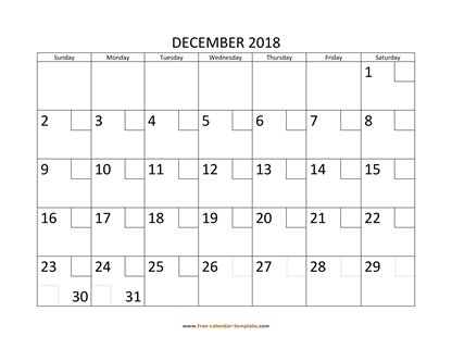 december 2018 calendar checkboxes horizontal
