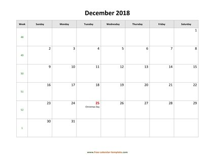 december 2018 calendar holidays horizontal