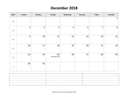 december 2018 calendar notes horizontal