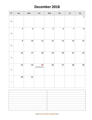 december 2018 calendar notes vertical