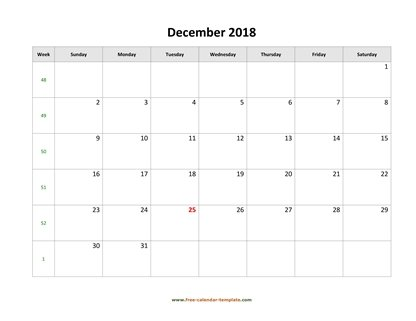 december 2018 calendar simple horizontal