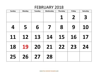 february 2018 calendar bigfont horizontal