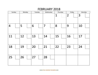 february 2018 calendar checkboxes horizontal