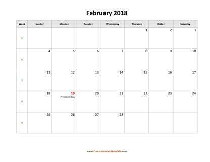february 2018 calendar holidays horizontal