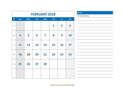 february 2018 calendar largenotes horizontal