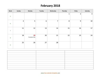 february 2018 calendar notes horizontal