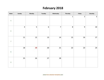 february 2018 calendar simple horizontal