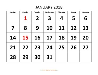 january 2018 calendar bigfont horizontal