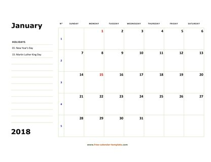 january 2018 calendar boxnotes horizontal