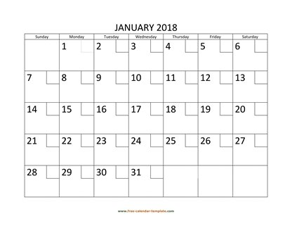 january 2018 calendar checkboxes horizontal