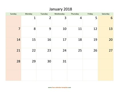january 2018 calendar colored horizontal