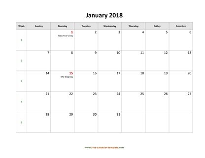 january 2018 calendar holidays horizontal