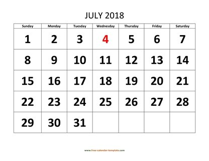 july 2018 calendar bigfont horizontal